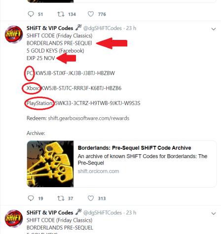 twitter shift codes