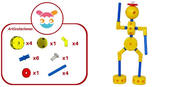 Robot articulado construido con 21 piezas de Broks