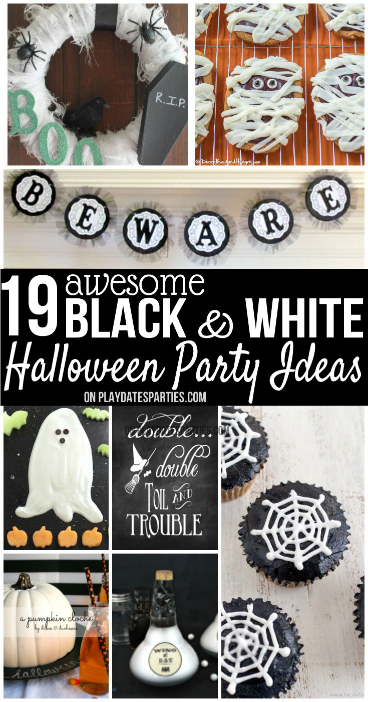 you can never go wrong with a black and white halloween party theme take a - Black And White Halloween Party