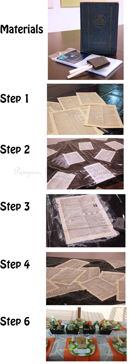 Make your next outdoor dinner party stand out with this custom mess-proof book page tablecloth. It only takes a few materials to make!