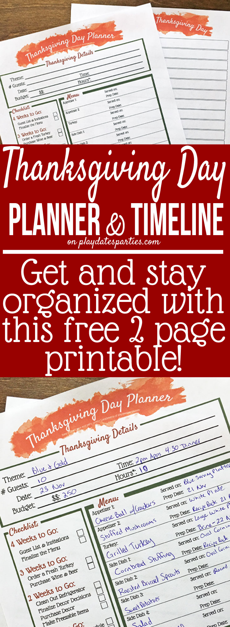 This free printable Thanksgiving dinner planner is the best way to get organized. With a 4-week #Thanksgiving checklist and timeline right alongside your Thanksgiving #Menu Planner, your holiday is sure to stay cool and calm!