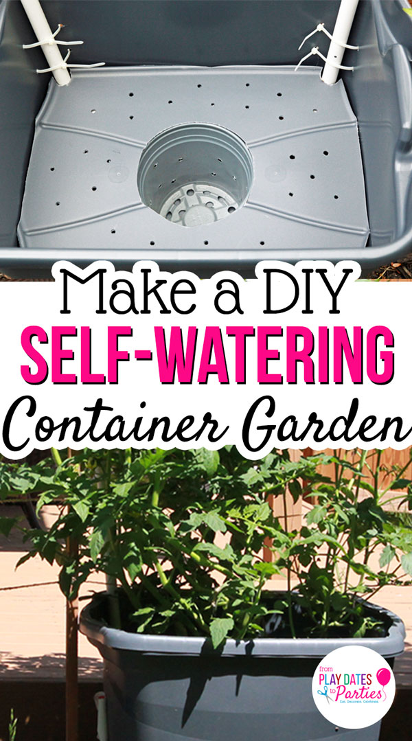Want to grow the best vegetables this year? Head over to playdatesparties.com to see how to make a DIY self watering planter to keep your vegetables healthy and happy. #DIY #garden #gardening #pdpcreates