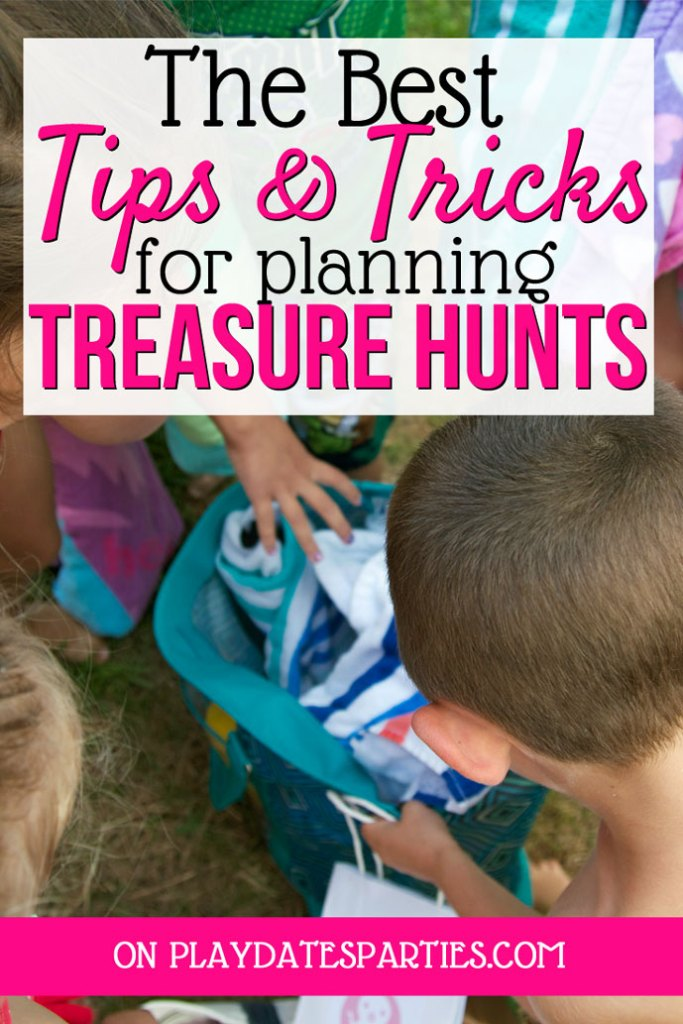 "A picture of kids reaching into a bag with a text overlay ""The best tips and tricks for planning kids treasure hunts"""