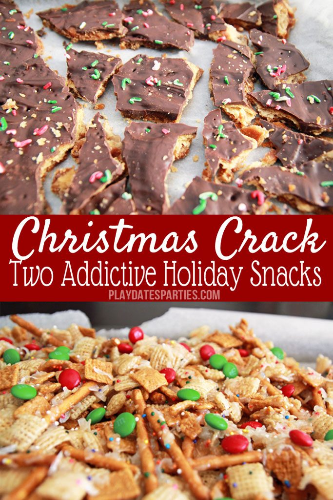 CAUTION: You're going to be addicted once you try Chex Mix candy and Ritz Cracker Toffee candy. They're both so easy to make and so tasty to eat, they've earned their nickname: Christmas Crack!