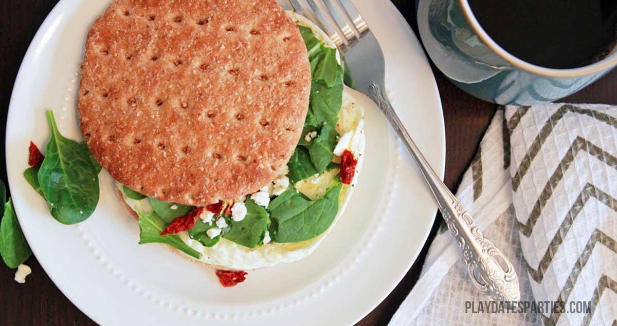 Egg White, Spinach, and Feta Breakfast Sandwiches