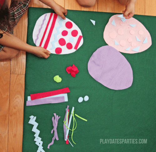 This felt Easter egg busy board is easy to make, encourages creativity, and provides opportunities to reinforce colors and sorting for young kids.