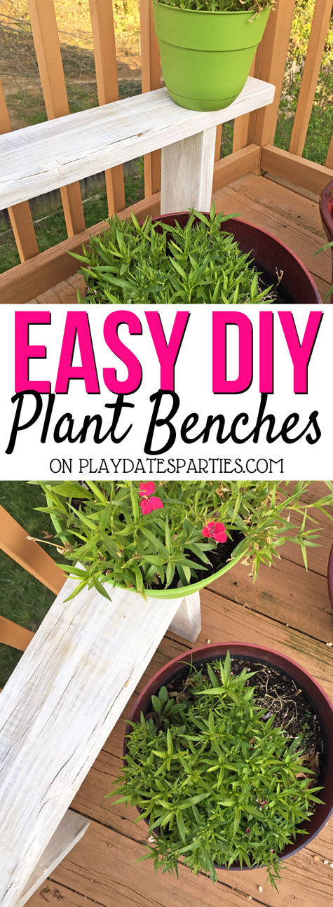 Make your deck look amazing with an abundance of beautiful plants stacked on and under these easy DIY potted plant benches. Get the details and see them in action over at playdatesparties.com. #DIY #plants #garden #containergarden #PDPdecorates
