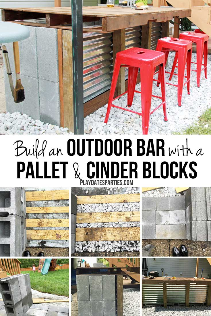 DIY Cinder Block and Pallet Outdoor Bar