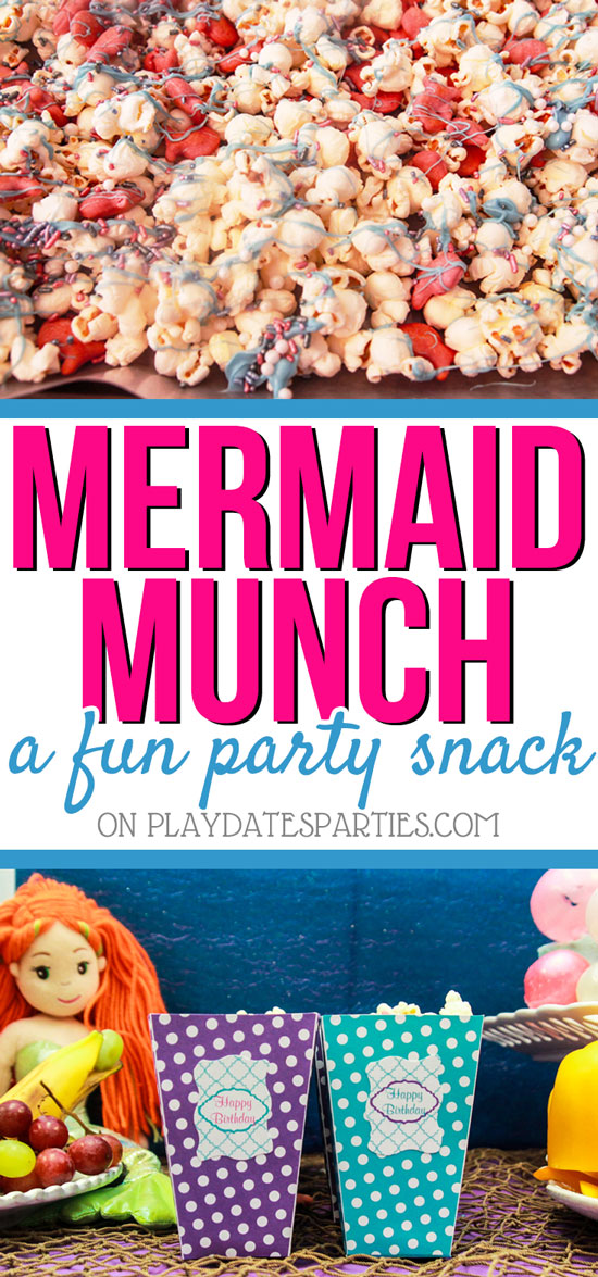 Looking for a quick and easy treat to feed a crowd of hungry kids? Head on over to playdatesparties.com to see how this Mermaid munch recipe will fit the bill just perfectly! #mermaid #kidsparty #kidssnacks #pdpcelebrates #pdpkids