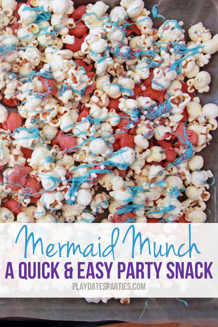 This mermaid munch recipe combines sweet and salty ingredients for the perfect 10-minute treat to feed a whole crowd of kids.
