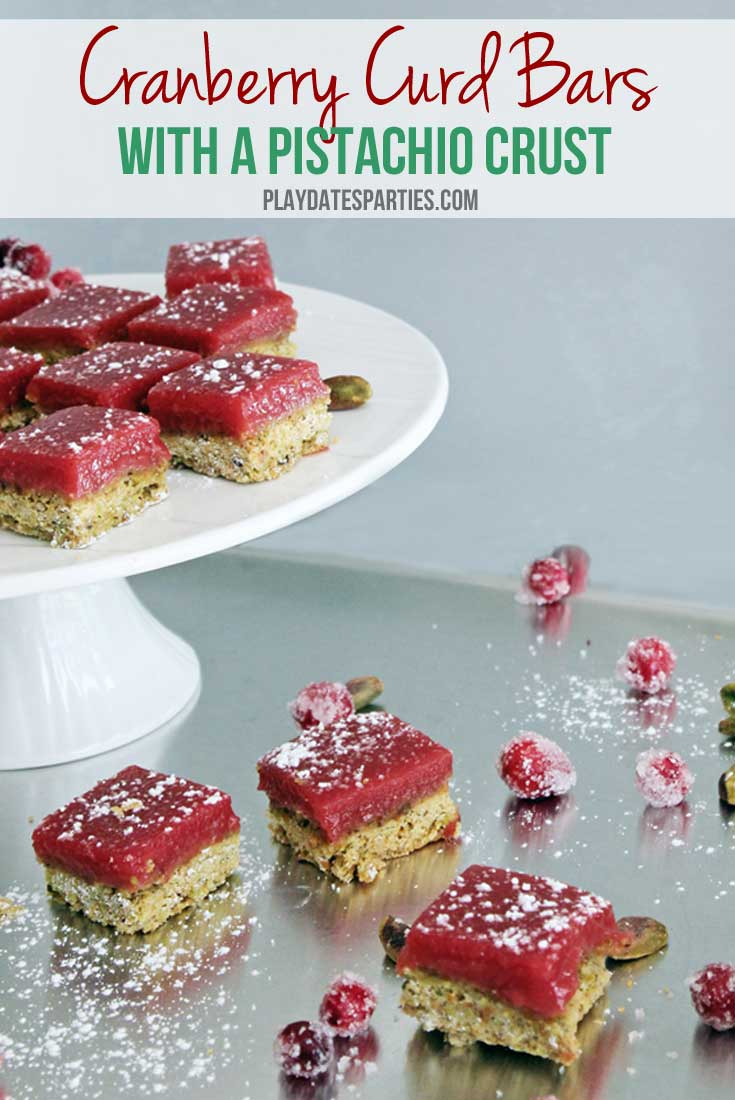 Cranberry curd bars with a pistachio crust are the perfect holiday alternative for anyone who loves the sweet-tart combination of lemon bars.