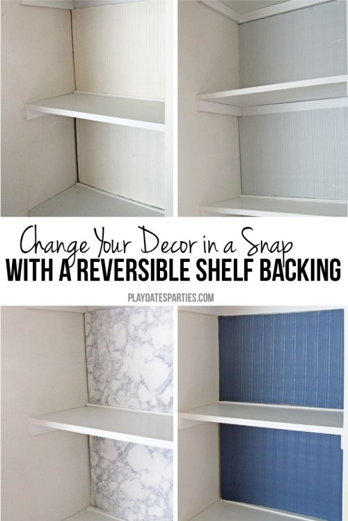 Make a reversible shelf backing set so you can change the look of your bookcases and shelving for each season or just because you feel like it.