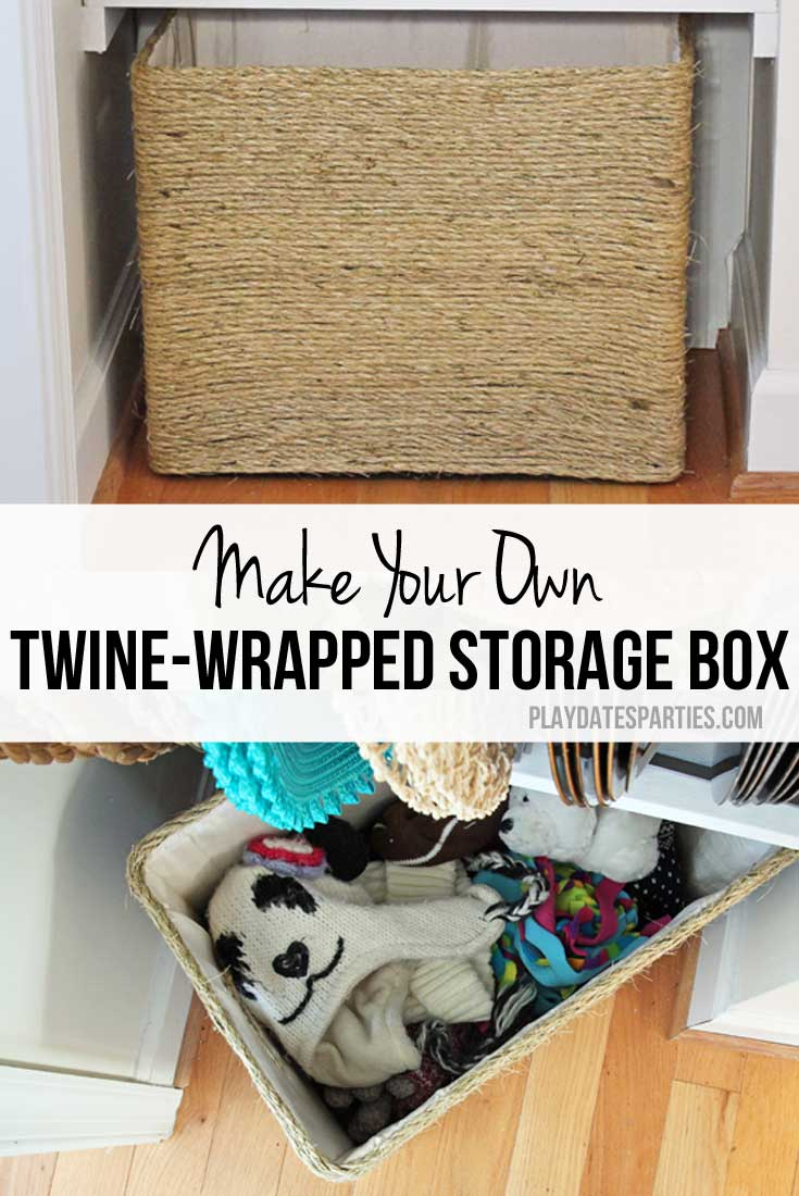 Get all the tips and tricks to make your own high-end looking twine-wrapped storage box and never overpay for storage boxes and baskets again!