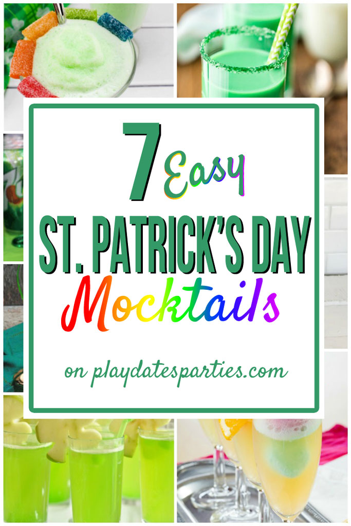 Celebrating St. Patrick's Day with your kids is fun and easy with these 7 St. Patrick's Day Mocktails. Click through to see all the shamrock and rainbow goodness! Brought to you by playdatesparties.com #stpatricksday #mocktails #kids #stpatty