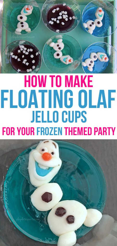 These floating Olaf Jello cups are surprisingly easy! In 3 simple steps, you can make this adorable no-muss, no-fuss Frozen-themed snack featuring everyone's favorite snowman. Best of all it's sure to impress your party guests and thrill the kids.