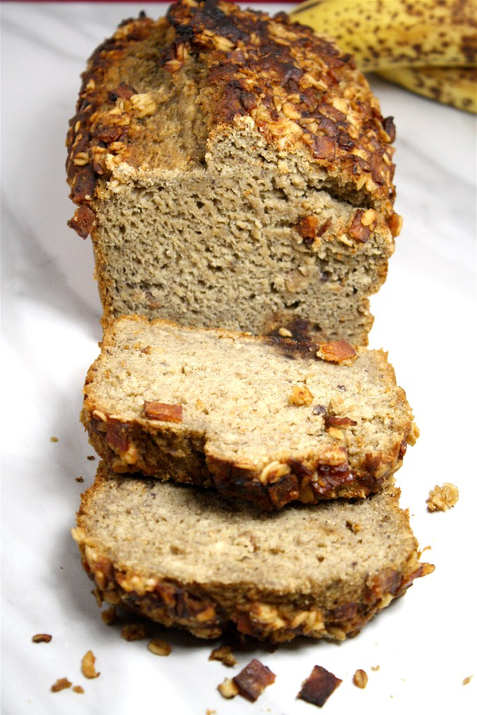 Date Sweetened Banana Bread with Candied Bacon from Lonely for Food.