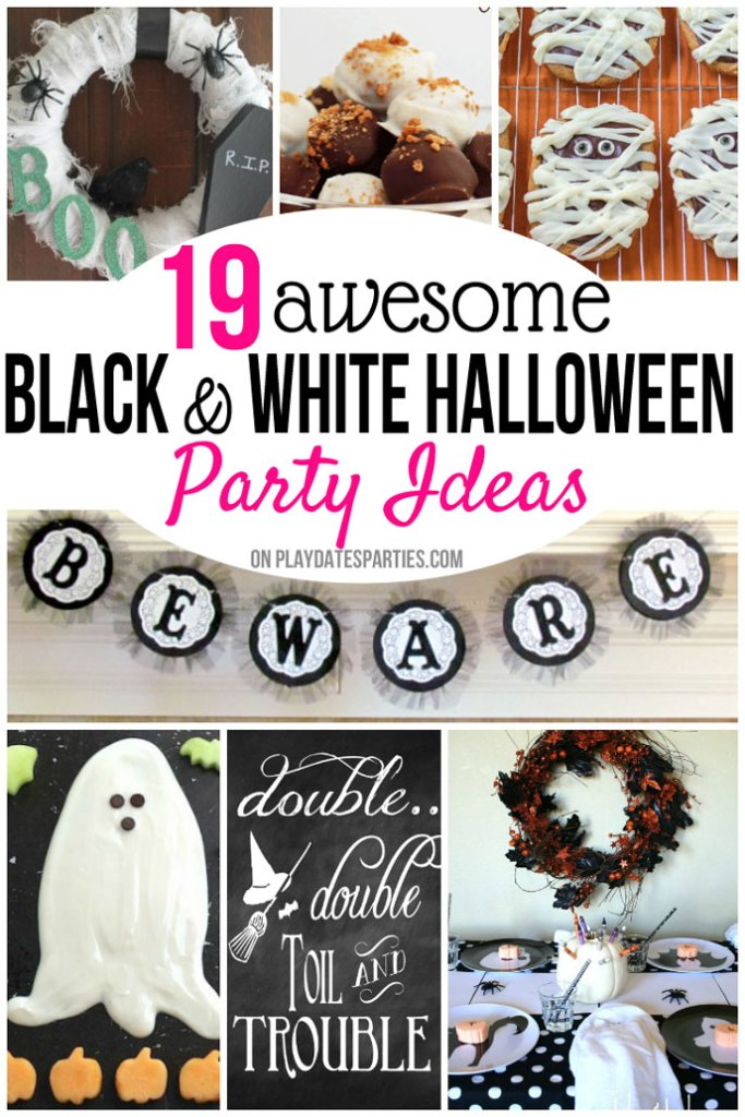 You can never go wrong with a black and white Halloween party theme. Take a look at these 19 easy (and awesome) ways to use this classic party theme, with black and white Halloween decorations, food, & activities.