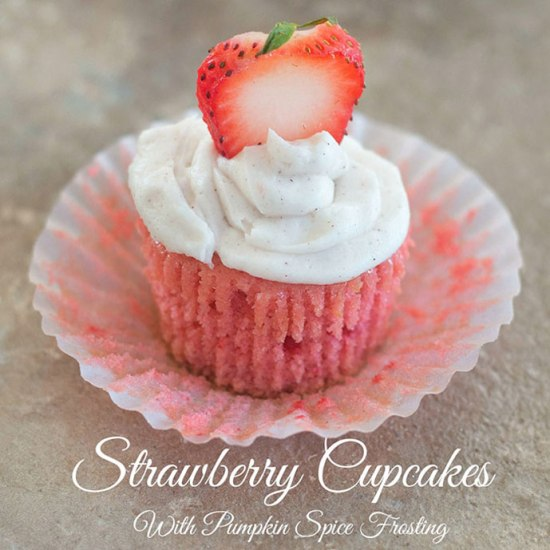Vegan Strawberry Cupcakes with Pumpkin Spice Frostingby Healing Tomato