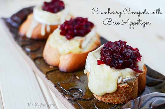 Appetizers for a Fall Party: Cranberry Compote with Brie by Thrifty Jinx