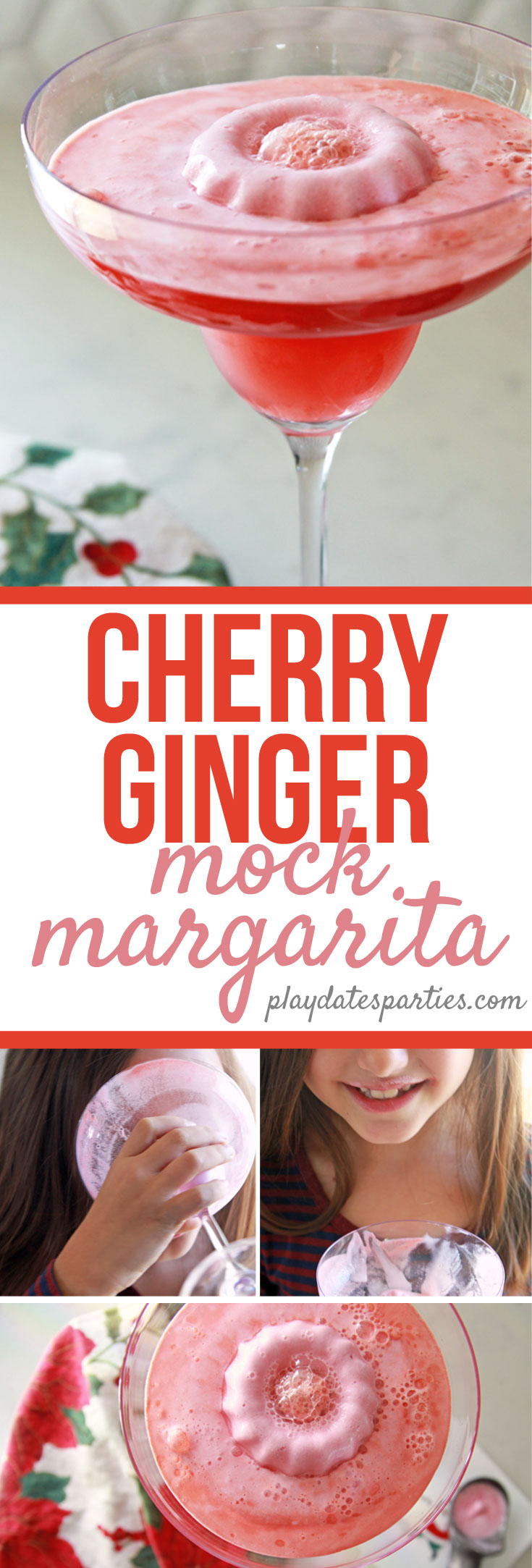 This cherry ginger mock margarita recipe is the perfect Christmas #party drink for #kids to enjoy. They'll love the bright color, fruity flavor, and sherbet wreath in the center of the drink. #virgin #cocktails