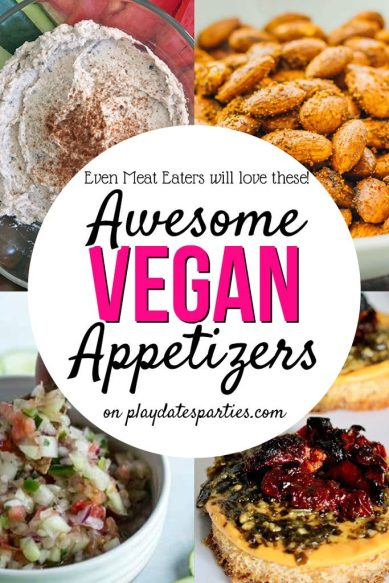 This list of 13 vegan party appetizers will satisfy everyone at your party...even if they LOVE their hamburgers and hot dogs too. #party #partyplanning #recipes #vegan