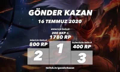 Gönder Kazan'da bu hafta: Toplam Ödül: 2980 RP + 200 GKP