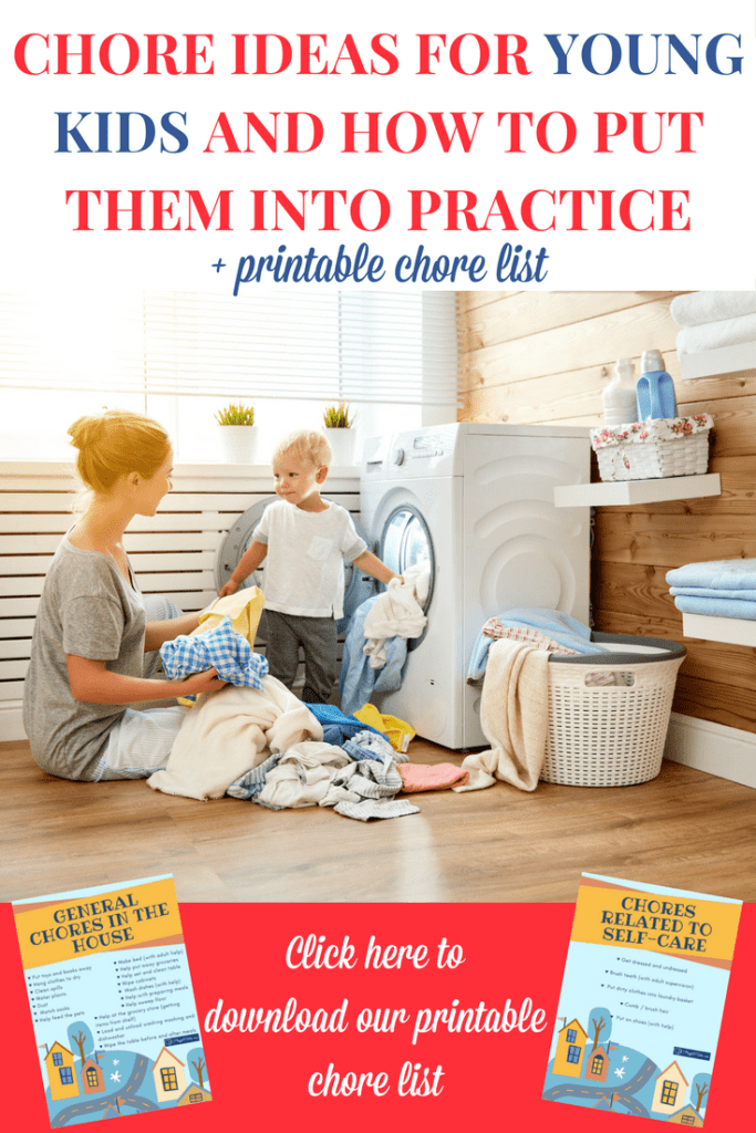 Chore ideas for kids: If you want to involve your kids in chores, here is a list of chore ideas for young kids plus a printable chore list to help you put them into practice. | Chore ideas for toddlers and preschoolers | Chore list for kids