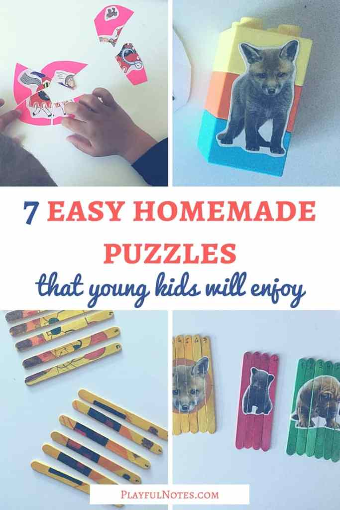 Puzzles are a great way for kids to learn and have fun! Discover these 7 easy homemade puzzles that kids will enjoy and create them for your children! | Homemade puzzles for kids | DIY puzzles for kids | Homemade puzzle ideas