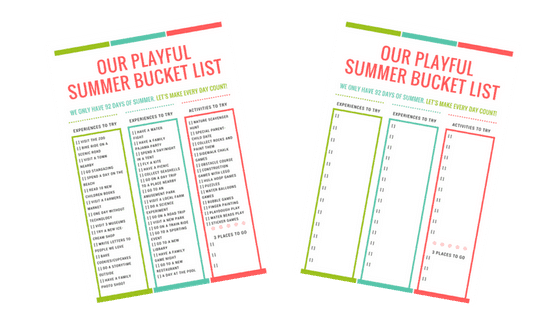 summer bucket list for young kids