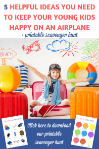 If you are preparing for a flight with a young child, here are 5 great airplane activities for young kids that can make your trip more enjoyable! | Airplane activities for toddlers | Airplane activities for preschoolers | Airplane activities for kids | Airplane travel activities for kids