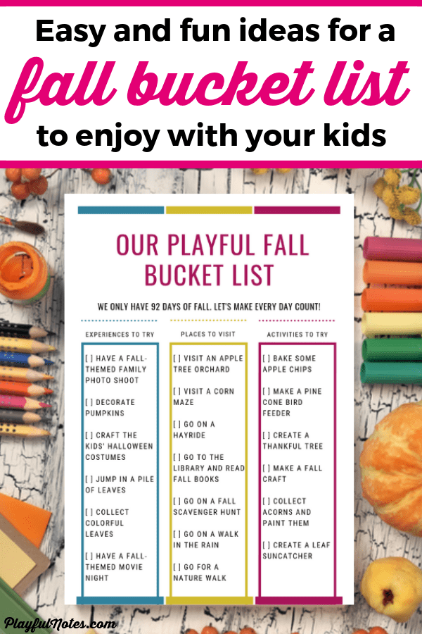 Check out this awesome fall bucket list with 18 easy and fun fall activities for families! Download the printable and enjoy the ideas with your kids! --- Fall activities for families | Fall activities for toddlers | Fall bucket list | Fall activities for kids #BucketList #FallActivities #FamilyLife #FamilyFun
