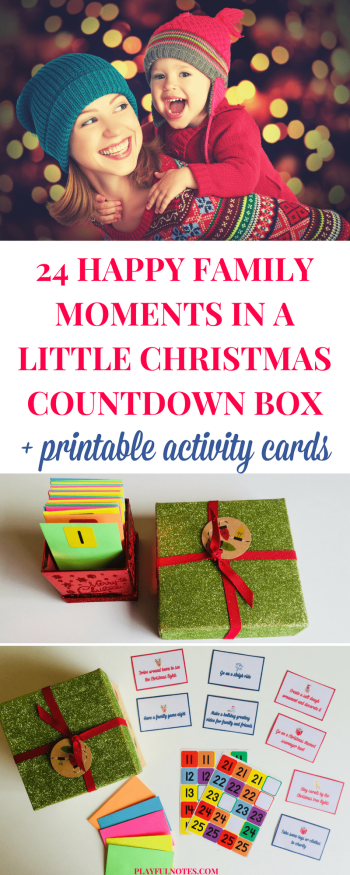 The Christmas countdown box is an easy and nice way to store your Advent calendar ideas and plan a happy family moment for every day before Christmas.   Advent calendar ideas   Christmas countdown activities for kids   Printable Advent calendar #ChristmasForKids