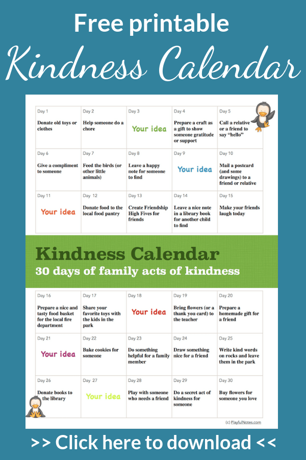Teach you child about kindness in a playful way using a cute printable kindness calendar! --- Acts of kindness for kids | Teaching kids to be kind | Children activities about kindness #ChildrenActivities