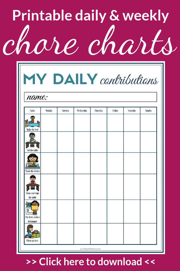 Do you want to make chores easy and playful and raise responsible and independent kids? Download the printable chore charts and make this happen! --- Printable chore charts for kids | chore cards for kids | daily chore charts | weekly chore charts | visual chore charts for kids | Parenting tips #ParentingTips #ChoreCharts
