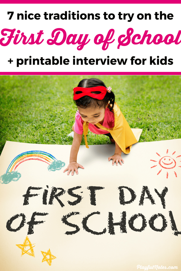 Make the first day of school special with these lovely traditions that will make your kids happy! You can also download a free first day of school interview to use with your kids, plus a first day of school sign to use in a special photo session. --- First day of school traditions | Back to school traditions | Free printable interview for the first day of school | First day of preschool #Printable #BackToSchool #RaisingKids