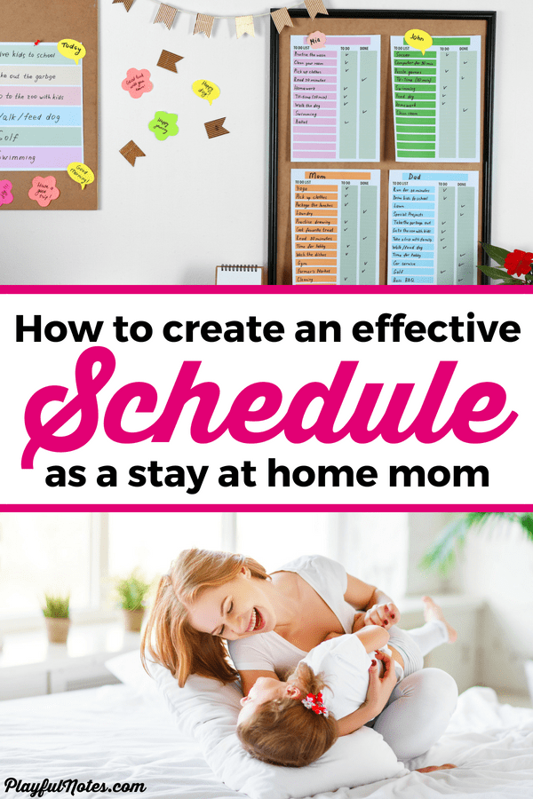 Build an effective stay at home mom schedule and start enjoying motherhood more! Discover easy tips and a printable planner to help you organize and simplify your life. --- Stay at home mom tips | Motherhood tips | Mom schedule | Planner for mom #Motherhood #MotherhoodTips #MomLife