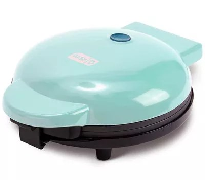 "Dash DEWM8100AQ Express 8"" Waffle Maker Machine for Individual Servings, Paninis, Hash browns + other on the go Breakfast, Lunch, or Snacks, with Easy Clean, Non-Stick Sides, Aqua"
