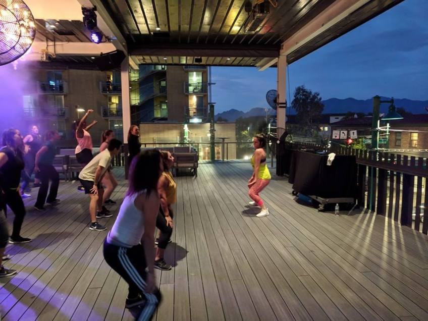 ZUMBA NET-TWERKING ON THE PLAYGROUND BAR AND LOUNGE ROOFTOP