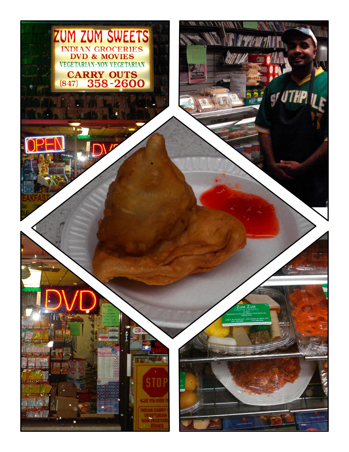 Hakeem Aslam at Zum Zum Sweets on Rand Road in Palatine served a samosa. It was good. Photo by Christopher Brinckerhoff.