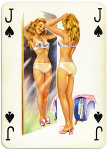 Pinup cards by Piatnik Baby Dolls from 1956 – Jack of spades