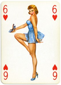 Pinup cards by Piatnik Baby Dolls from 1956 Six of hearts