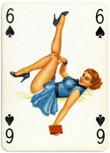 Pinup cards by Piatnik Baby Dolls from 1956 Six of spades