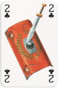 2 of clubs from Gladiators deck designed by Severino Baraldi