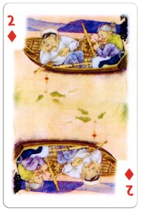 #PlayingCardsTop1000 – 2 of diamonds Trolls cartoons playing cards by Rolf Lidberg