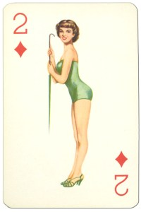 2 of diamonds Van Genechten Glamour Girls pinup cards