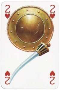 2 of hearts from Gladiators deck designed by Severino Baraldi