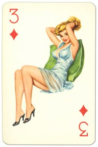 3 of diamonds Van Genechten Glamour Girls pinup cards
