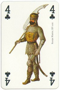 4 of clubs Renaissance clothes card