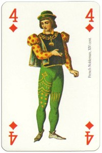 4 of diamonds Renaissance clothes card