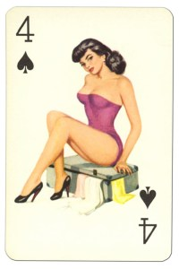 4 of spades Van Genechten Glamour Girls pinup cards